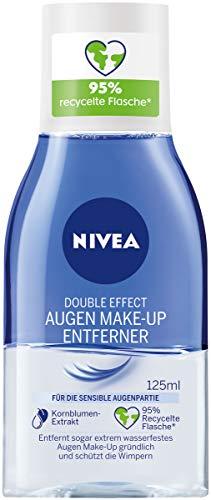 NIVEA Double Effect Augen Make-Up Entferner (125 ml), Make-Up Entferner für die sensible Augenpartie, Gesichtsreiniger entfernt extrem wasserfestes Make-Up
