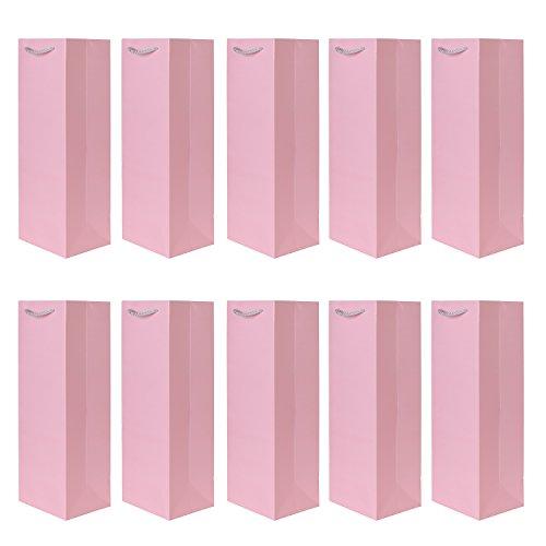 10er Packung Flaschentüten Geschenktüten rosa für Wein Sekt und Champagner geeignet 36x12x10