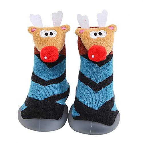 Zapatos de Navidad para bebés, zapatos para niños pequeños, zapatos para aprender a andar, calcetines de Papá Noel, para interiores, suaves, antideslizantes, para niños, c, 24