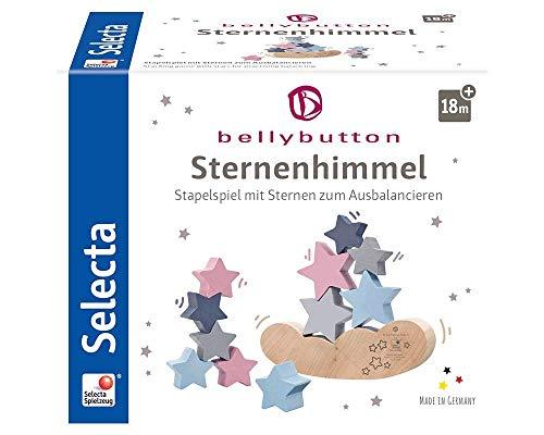 Selecta 64020 Sternenhimmel, Bellybutton, Stapelspielzeug aus Holz, 12 Teile, bunt