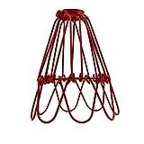 Retro Easy Fit Wire Cage Frame Open Style Colgante Shade Metal Cage Flower Shape Lampshade Lámpara colgante de techo (rojo)