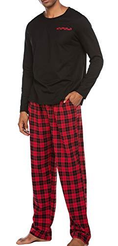 Schlafanzug Herren Lang Pyjama Nachtwäsche Schlafhose Oberteile Schlafshirt mit Taschen für Männer Herbst Winter Zuhause Schwarz