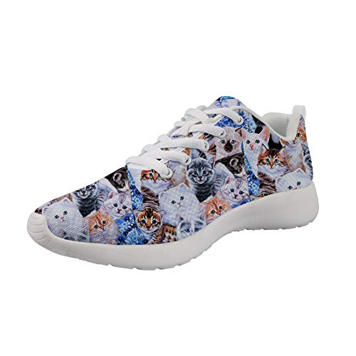 Image of the Showudesigns Women's Fashion Sneakers Breathable Sport Shoes Cat Cute Athletic Lace Ups Casual Walking Shoes for Teen Girls Running Gym Exercise Shoes Szie 8.5