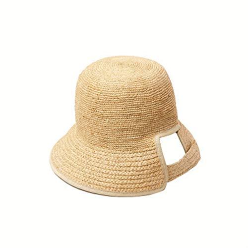 Primavera y Verano Nuevo Modelo, Ganchillo a Mano Sombrero de Pescador de Hierba rafi, diseño de Ajuste Adhesivo, Sombrero de Paja Parasol de Playa al Aire Libre Estilo Todo Partido