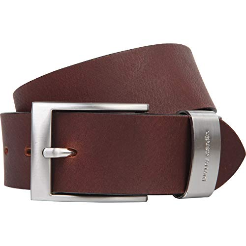 Pierre Cardin Mens leather belt / Mens belt, full grain leather belt XL with metal loop, dark brown, Size:120