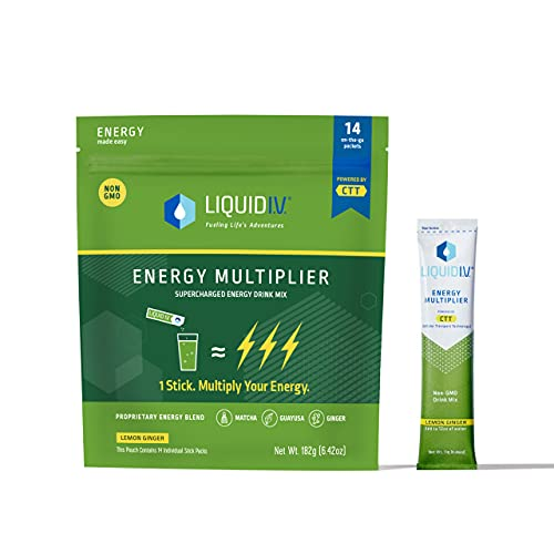 Liquid I.V. Energy Multiplier | Sustained Energy Powder Packets | Matcha and Green Energy Blend Drink Mix | Natural Caffeine | Easy Open Single-Serving Stick | Non-GMO | Lemon Ginger/14 Count