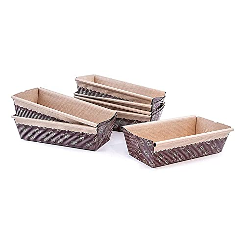 """Paper Loaf Pan, Disposable Paper Baking Loft Mold 25ct, All Natural, Recyclable, Microwave Oven Freezer Safe, Providing Beautiful Display For Baked Goods (6""""x 2.5""""x2"""")"""