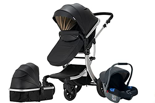 Sturdy by FlyKids 3 in 1 Travel System with Convertible carrycot and Baby car seat rain Cover Parent Bag Adjustable Height (STDYBLACKL)