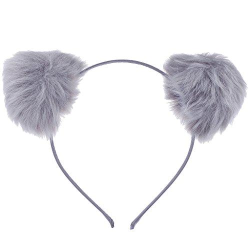 Lux Accessories Grey Faux Fur Pom Pom Ball Cat Ear Panda Costume Puff Headband