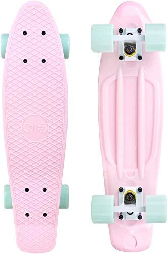 LEYU - Monopatín para niños y adolescentes (55,88 cm), diseño retro de mini skateboardPP para principiantes