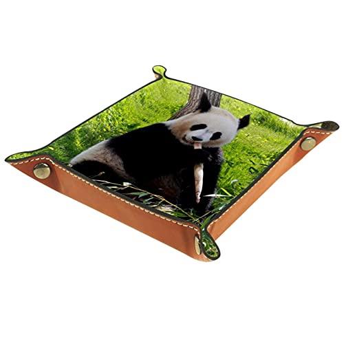 Bandeja de Valet de Cuero, Bandeja de Dados, Soporte Cuadrado Plegable, Placa organizadora de tocador para Cambiar Moneda, Panda, bambú, zoológico, Negro, Blanco
