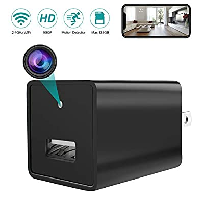 Spy Camera Wireless Hidden WiFi Camera Remote Viewing HD 1080P USB Wall Charger Hidden Spy Security Camera Nanny Cam with Motion Detection for Home Office