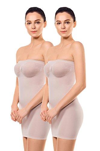 +MD Fajas de Tirantes sin Tirantes para Mujer Deslizamiento Completo de Control de la Barriga sin Fisuras dirigida dirigida sin Fisuras Vestidos Debajo de los Vestidos Nude2L