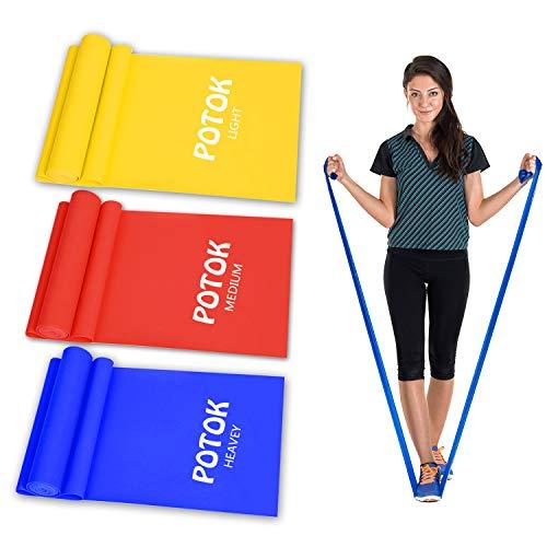 Potok Fitnessbänder 3er-Set für Fitness, Reha, Gymnastik und Physiotherapie | Leicht | Medium | Stark - Fitnessband Trainingsband Gymnastikband, Für Männer & Frauen