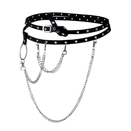 Milakoo Womens Punk/Rocker Grommet-Leather-Belt with Chains - Adjustable Buckles Waist Belts