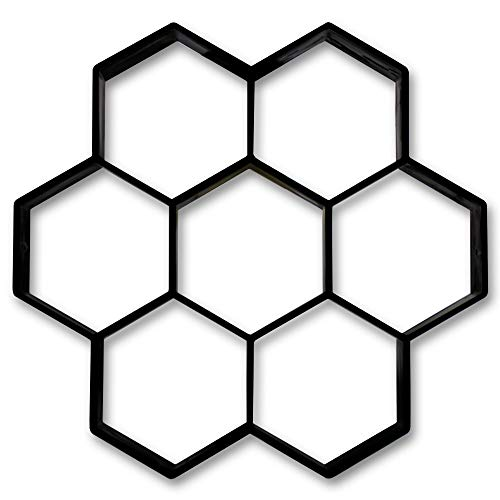@tec Betonform Pflasterstein Sechskant Wabenmuster 30 * 30 * 4,5cm - Schalungsform Gießform Polypropylen (Kunststoff) - Waben-Plaster-Form, Stempelform, Pflaster Stein Gehweg