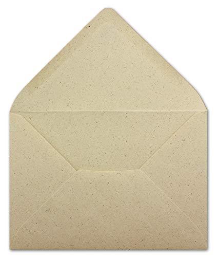 25 DIN C6 Briefumschläge Kraftpapier Ökopapier Umweltpapier aus Graspapier - 11,4 x 16,2 cm - 85 g/m² - Nassklebung Umschläge ohne Fenster - Glüxx-Agent