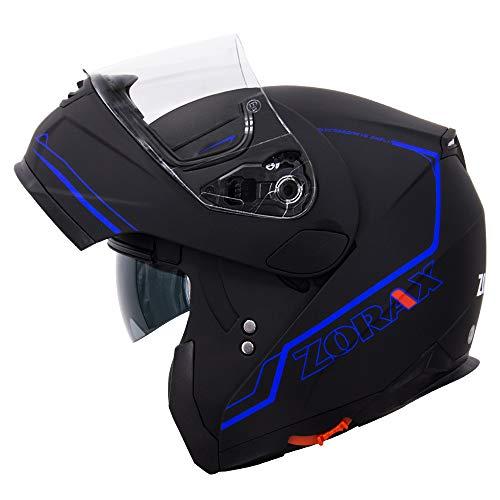 Zorax Matt Black/Blue L (59-60cm) ZOR-838 Double Visor Modular Flip up...