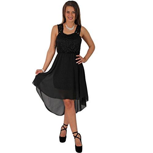 Fashion Cocktailkleid Tanzkleid Chiffon Minikleid Vokuhila Kleid Abendkleid Partykleid Spitze (36-38, Schwarz)