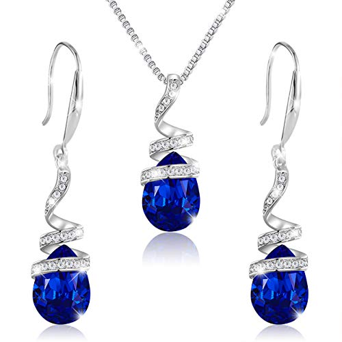"""PAVEL'S Schmuck Set Set""""Blue Magic"""" Ohrringe & Halskette aus 925 Silber gefertigt aus glänzenden blauen Kristallen inkl. hochwertiger PAVEL'S Schmuckbox und passendem Glanzbeutel"""