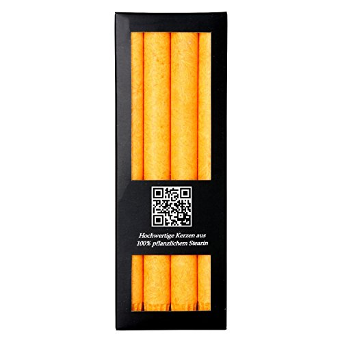 Bütic GmbH 4er Pack durchgefärbte Stabkerzen 250mm x 22mm - rußarme Stearin-Kerzen, Farbe:Gelb