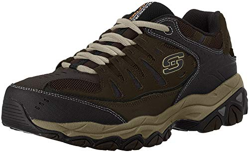 Skechers Men's AFTER BURN M.FIT Memory Foam Lace-Up Sneaker, Brown/Taupe, 10.5 4E US