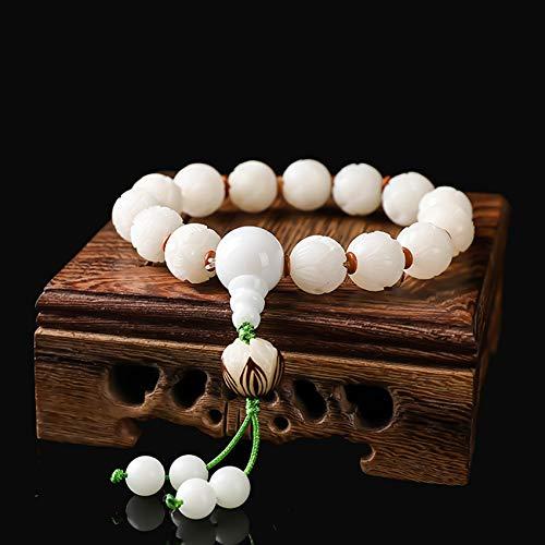 WCOCOW Feng Shui Natural Blanco Jade Bodhi curación Pulsera Tallado a Mano Loto Brazalete Budista Perlas budistas Fuerte talismán Amuleto atraer Dinero Buena Suerte protección protección
