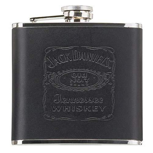 Jack Daniels Licensed Barware Label Flask, 18 oz, Black