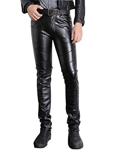 Moonwalk Men`s Faux PU Leather Skinny Black Biker Pants 30 Black