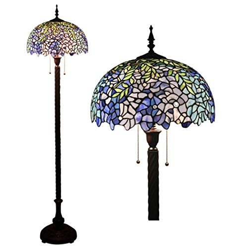 16 Inch Tiffany Style Wisteria Floor Lamps Vintage Stained Glass Shade Floor Lights Zipper Switch Decoration Reading Lamps for Living Room Bedroom bar Cafe
