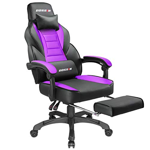 Price comparison product image BOSSIN Racing Style Gaming Chair Office Computer Desk Chair with Footrest and Headrest,  Ergonomic Design,  Large Size High-Back E-Sports Chair,  PU Leather Swivel Chair (Purple)