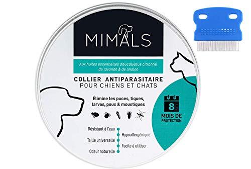 Mimals Collier Anti-Puces et Anti-Tiques pour Chiens et Chats – Conçu à Partir d'Huiles Essentielles Bio – Confortable et 100% Waterproof – Peigne Anti-Puces INCLU