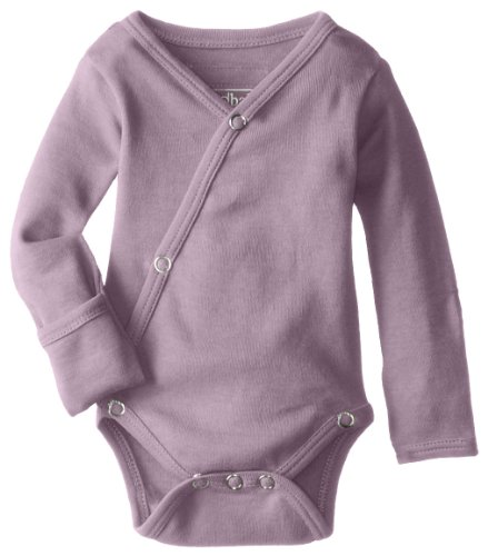 L'ovedbaby Unisex-Baby Organic Cotton Kimono Long Sleeve Bodysuit, Lavender, Newborn (up to 7 lbs.)