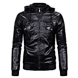 Chaqueta de cuero sintético para hombre, chaqueta de bombardero de motocicleta, impermeable, otoño, invierno, Outwear, A-negro, M