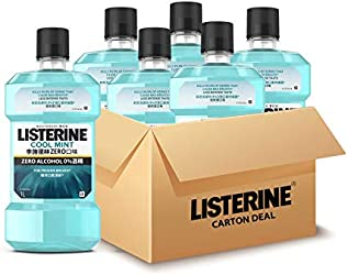 Listerine Cool Mint Zero Mouthwash, 1000 milliliters (Pack of 6)