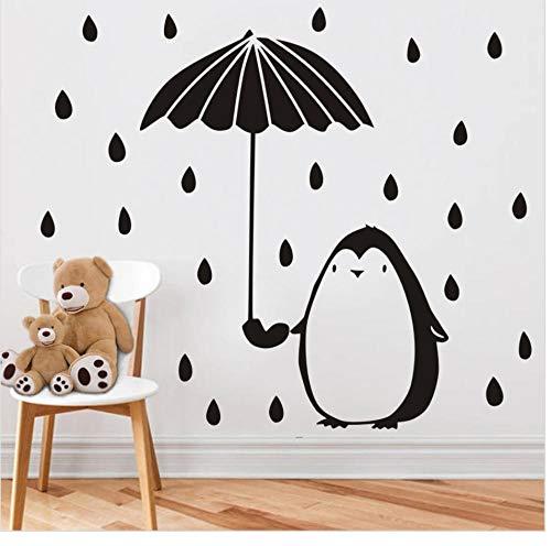 JHLP Grappige Pinguïn met Paraplu Muursticker voor Kinderkamer Baby Nuesery Decoratieve Muur Art Rain Dot DIY Stickers Muurschildering Home Decor 40cm X 43cm