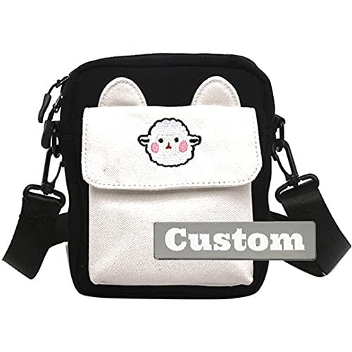 Viaggio leggero delle borse a tracolla degli uomini della borsa del messaggero di nome personalizzato personalizzato, Nero , Taglia unica,