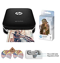 This kit includes: HP Sprocket Photo Printer (Black), Photo Paper (50 sheets), USB Charging Cable, Tudak 60 Decorative Stick-On Border Frames Print photos directly from your smartphone or tablet, Create 2 x 3-inch (5 x 7.6 cm) stickable snapshots whe...