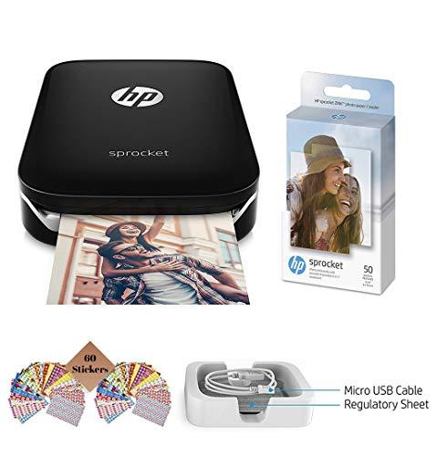 HP Sprocket Photo Printer, Print Social Media Photos on 2x3 Sticky-Backed Paper (Black) + Photo Paper (50 Sheets) + USB Cable + 60 Decorative Stick-On Border Frames