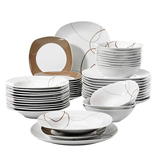 VEWEET Nikita Juegos de 48 Piezas Vajillas de Porcelana con 12 Cuencos de Cereales, 12 Platos, 12 Platos de Postre y 12 Platos Hondos para 12 Personas