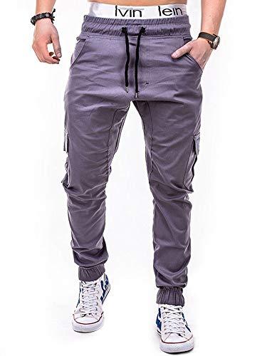 Achinel Pantalones de chándal para hombre con cintura elástica para culturismo, correr, pantalones ajustados con varios bolsillos