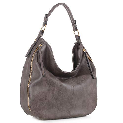 STYLISH & FUNCTIONAL: This stylish top handle faux leather hobo purse can be worn many different ways. Perfect for those sunny days to carry a handbag. This shoulder bag also features zipper accent design (front pockets not functional) with top zippe...