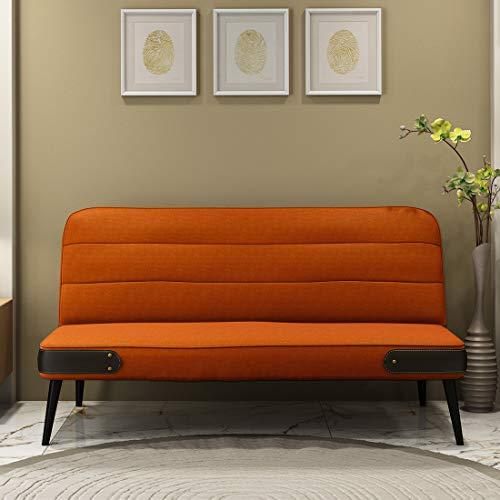 Durian Eddie Fabric 3 Seater Sofa Cum Bed (Orange)
