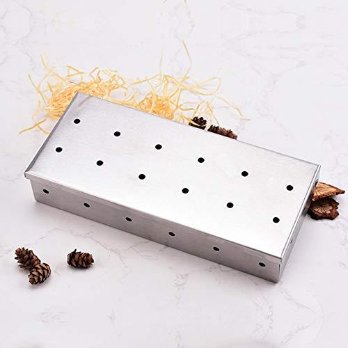 pegtopone Grill Smoker Box für Hackschnitzel, Delicious Smoky Barbecue Aromatisiert Gegrilltes Fleisch Non Warp Edelstahl Öffnet Smoker Box Fleischetui