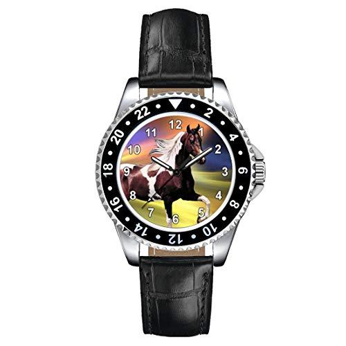 Timest - Caballo Paint Horse - Reloj para Mujer con Correa de Cuero Negro Analógico Cuarzo SE1244LB
