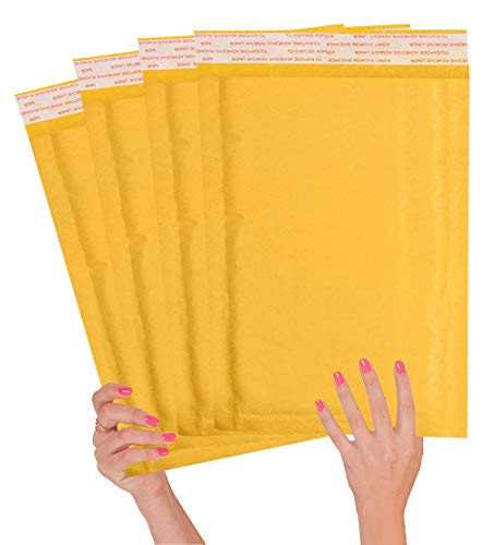 25 Pack Kraft padded envelopes 10.5 x 15 Bubble Mailers 10 1/2 x 15 yellow bubble envelopes Peal and Seal. Golden cushion envelopes for shipping, mailing, packing. Laminated kraft paper. Wholesale