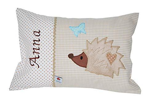 Glückspilz Namenskissen Babykissen I Igel I mit Namen personalisiert I Geschenk zu Geburt, Taufe oder Geburtstag I Beige Braun (25 x 35 cm)