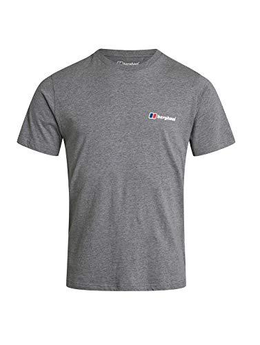 Berghaus Camiseta de Manga Corta con Logotipo Delantero y Trasero para Hombre, Hombre, Camiseta, 422378GA0, Gris Claro, XS