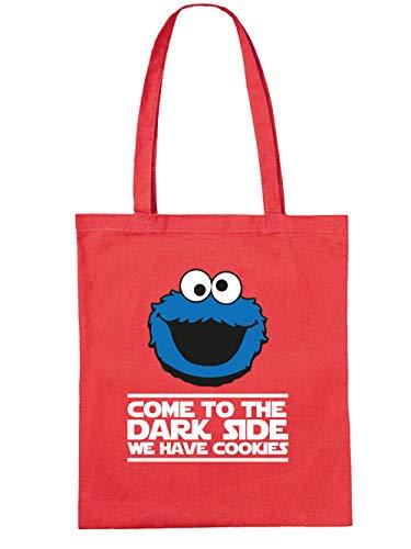 clothinx Come to the Dark Side - We Have Cookies - Lustiges Keks-Monster Motiv Stoff-Tasche Rot