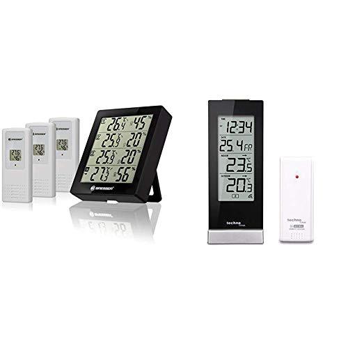 Bresser Wetterstation Funk mit Außensensor Thermometer Hygrometer Temeo Hygro Quadro inklusive 3 Außensensoren & Technoline WS 9767 Wetterstation mit Funkuhr, schwarz, 6,4 x 4,5 x 16,5 cm